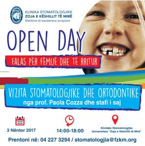 Open Day, vizita stomatologjike falas dhe vizita ortodontike falas per femij dhe adult.