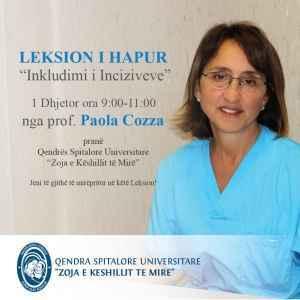 """Leksion i Hapur (gratis) nga prof. Paola Cozza prane Qendres Spitalore Universitare """"Zoja e Keshillit te Mire"""""""